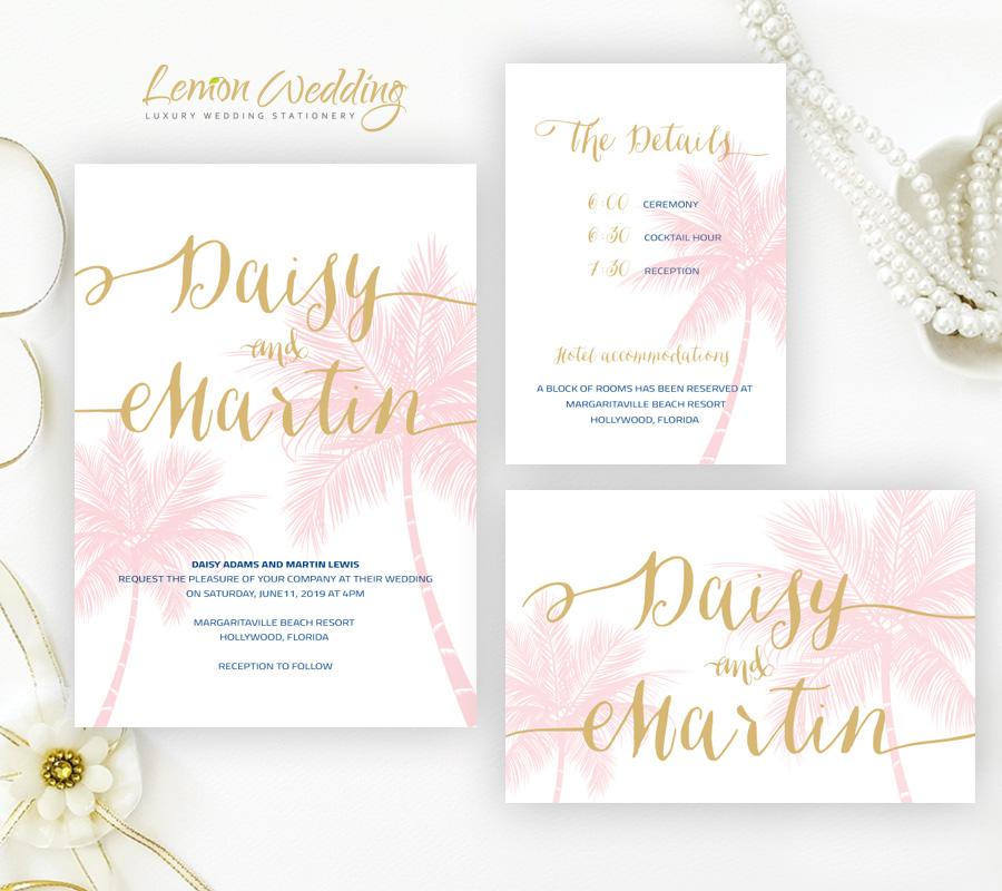 Beach wedding invitations lemonwedding palm beach wedding invitations packs filmwisefo