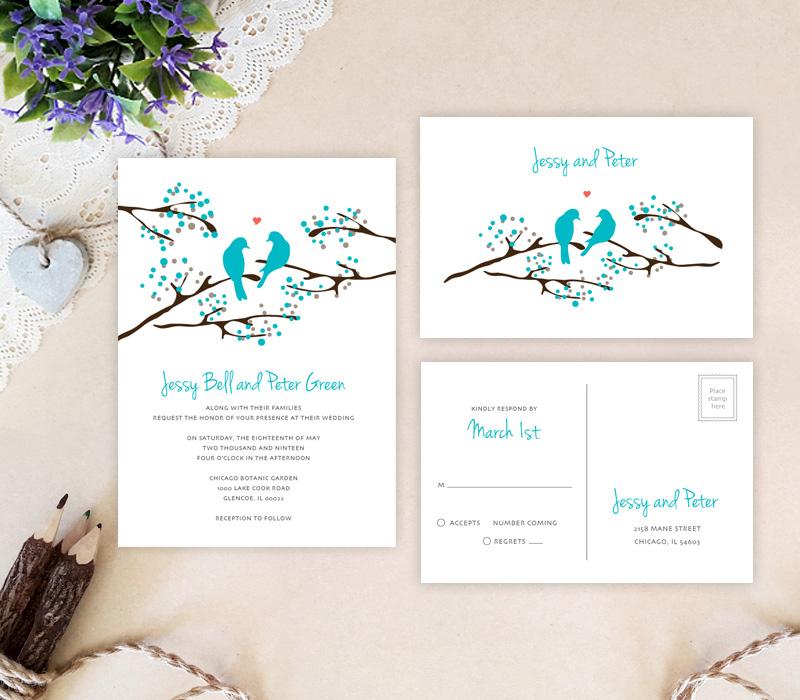 Love Birds Wedding Invitations Lemonwedding