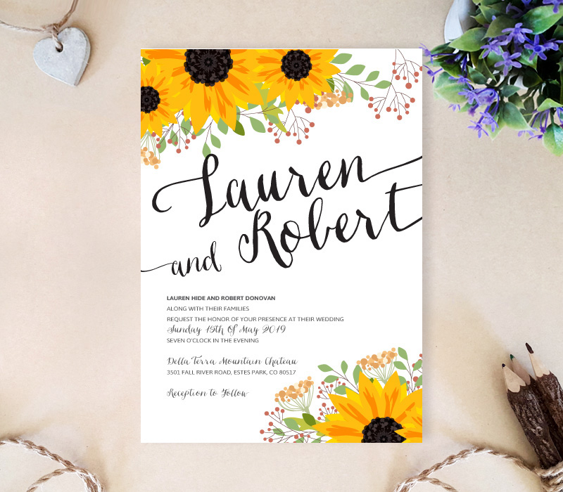 Sunflower Wedding Invitation LemonWedding