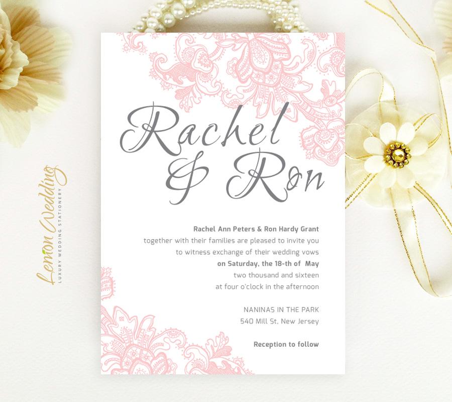 Pink Lace wedding Invitation - LemonWedding