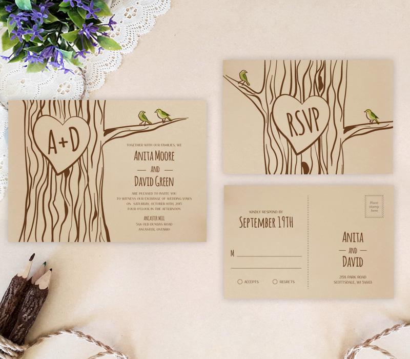 Tree themed wedding invitations - LemonWedding