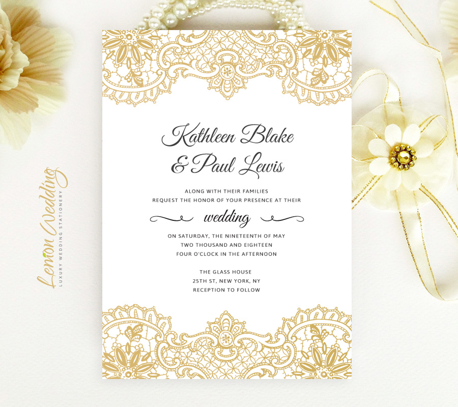 Wedding Invitations With Lace: Gold Lace Wedding Invitations