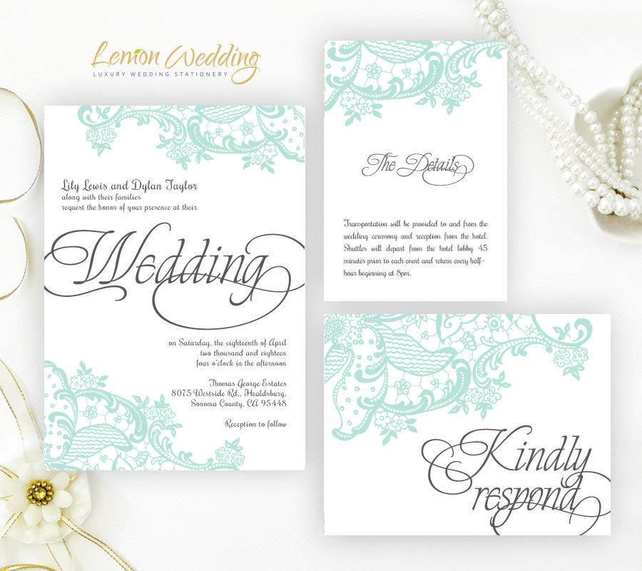 mint wedding invitations mint green wedding invitation kits lemonwedding 5958