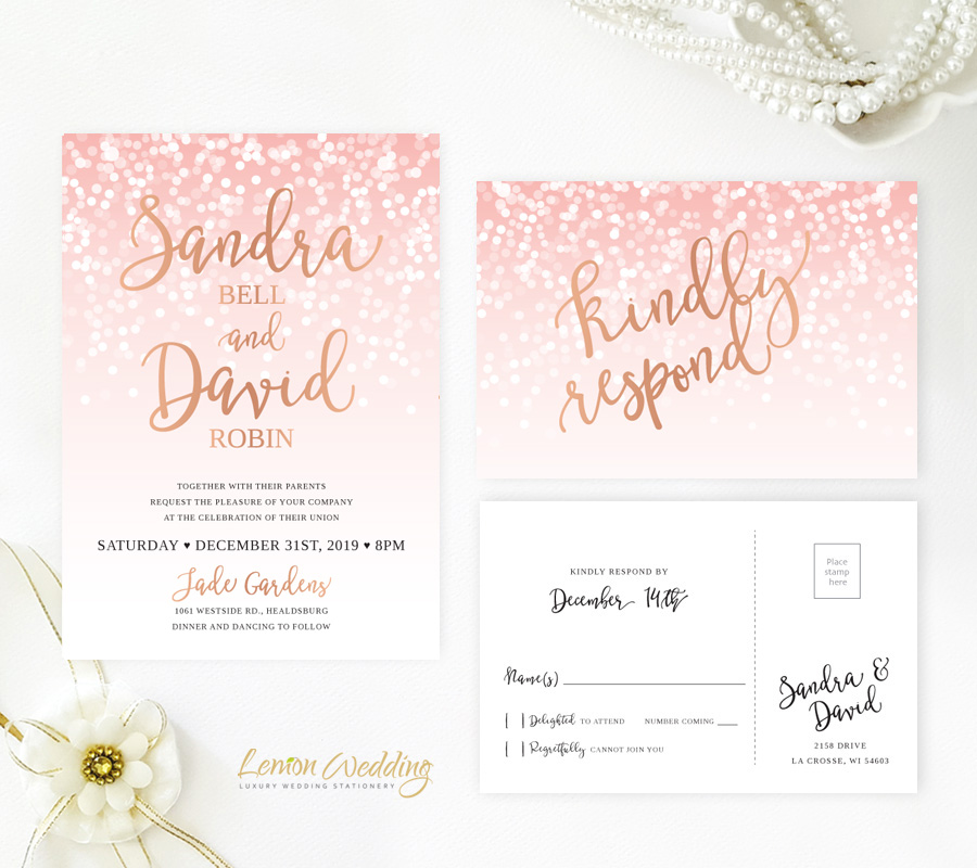Gold Wedding Invitations.Pink And Rose Gold Wedding Invitations