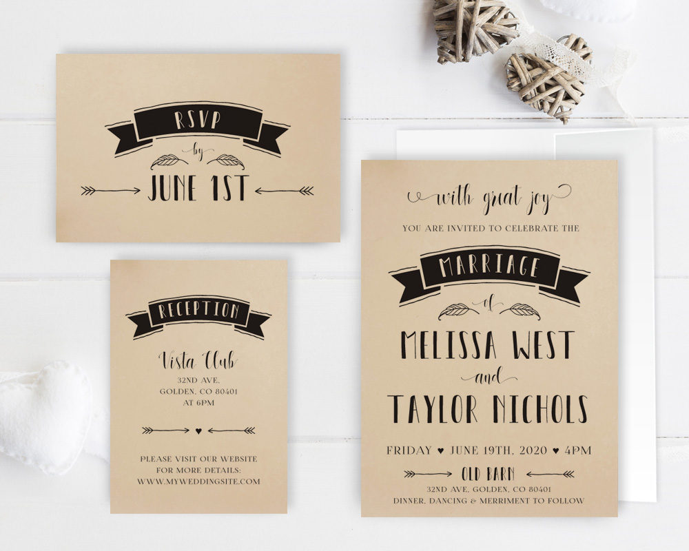 Kraft Wedding Invitation Packages