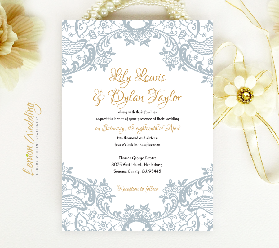 Grey Lace Wedding Invitations - LemonWedding