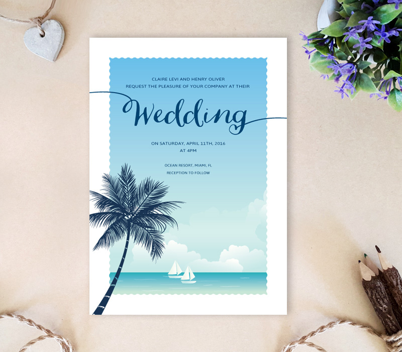 Beach Theme Card Stock: Palm Tree Wedding Invitations