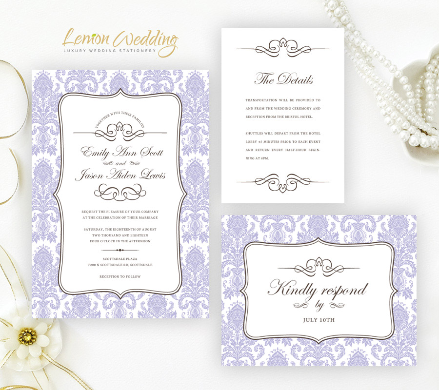 Purple Wedding Invitations - LemonWedding