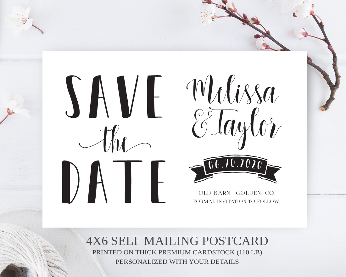 Banner Save The Date Postcards