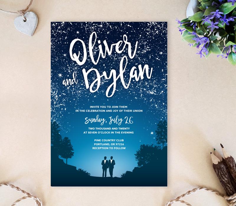 Under the stars gay wedding invitations lemonwedding for Gay wedding shower invitations
