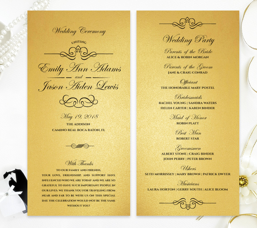 Wedding Ceremony Programs.Gold Wedding Ceremony Programs