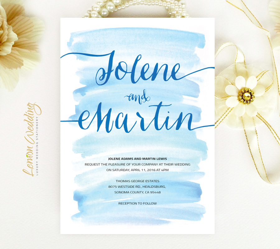 Watercolor Wedding Invitations LemonWedding