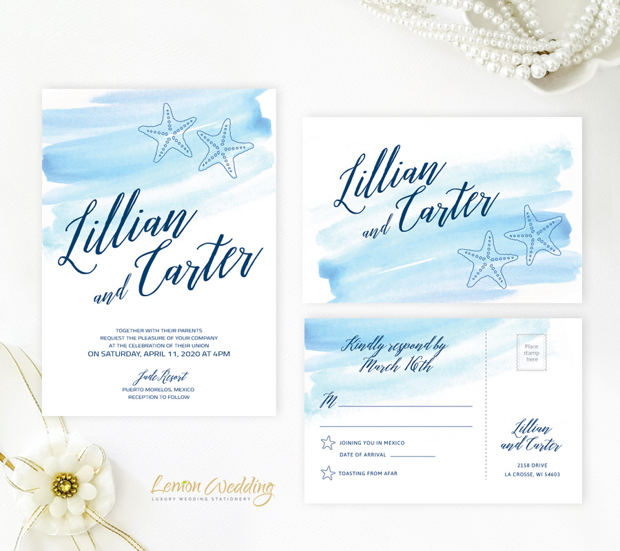 Lemonwedding Beach Wedding Invitations