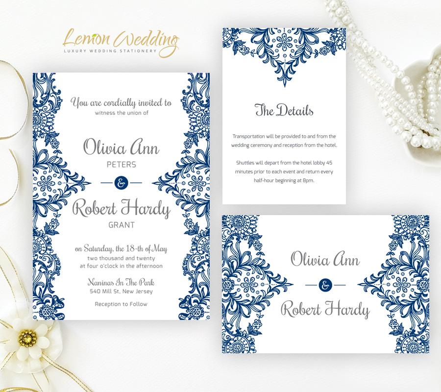 Navy Wedding Invitation: Navy Blue Wedding Invitation Sets