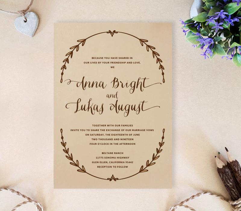 Wreath Wedding Invitations - LemonWedding