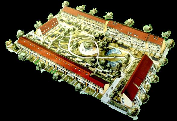 Plattegrond van het Groene Dak, getekend in perspectief.