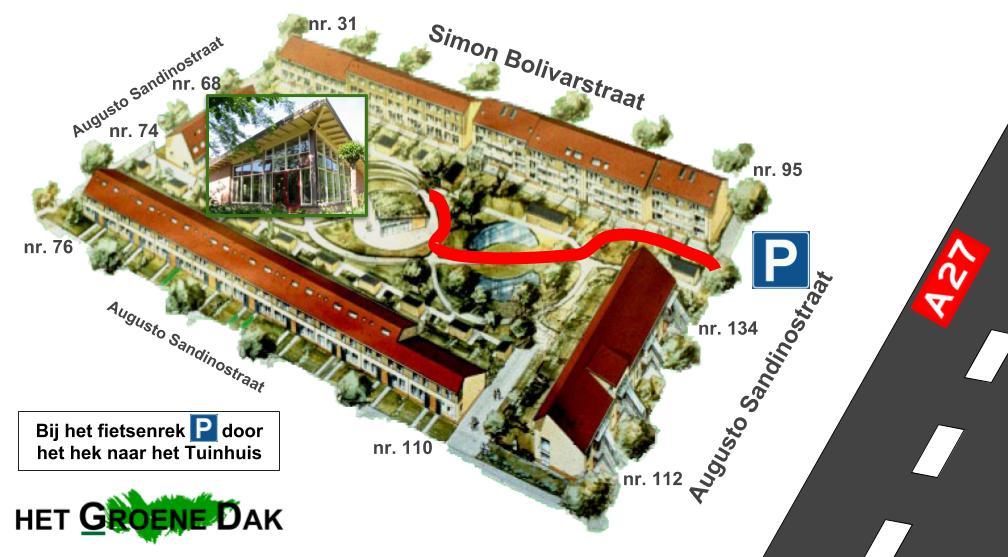 Plattegrond van het Groene Dak met de route naar het tuinhuis.