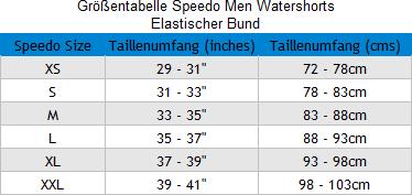 Größentabelle Speedo Männer Watershorts mit elastischem Bund