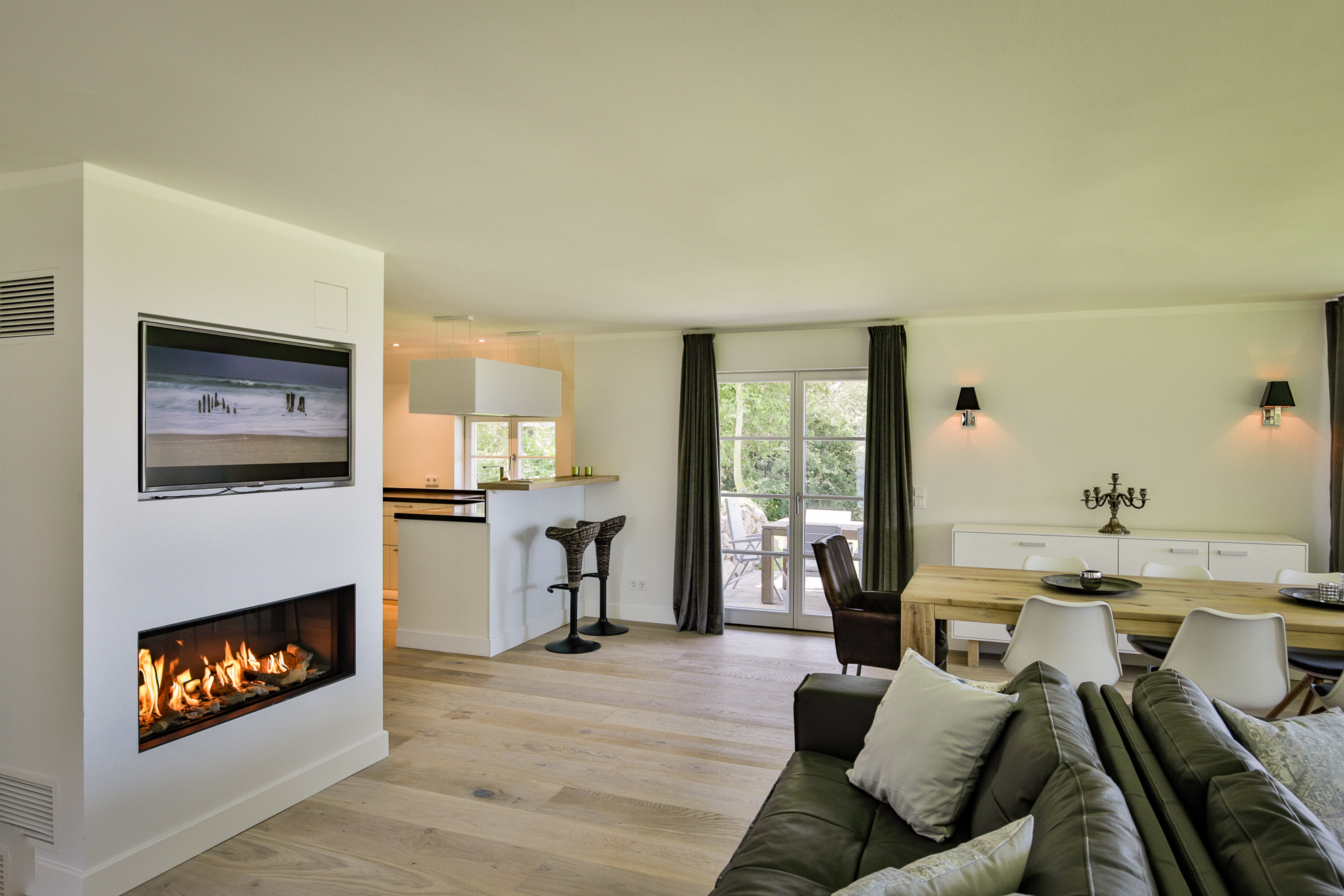 beautiful wohnzimmer mit offener küche pictures - home design