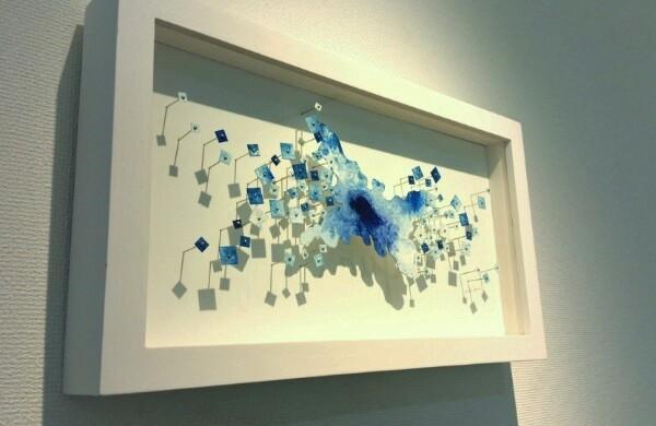 「みずうみ バイカル湖」 油彩、水彩紙、虫ピン 205×365×45mm 2015