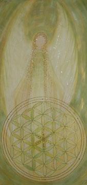 Heilungsengel Acryl auf Leinwand mit der Blume des Lebens