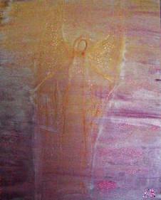 Engelbild gemalt mit Acryl auf Leinwand in Rosa und Lila