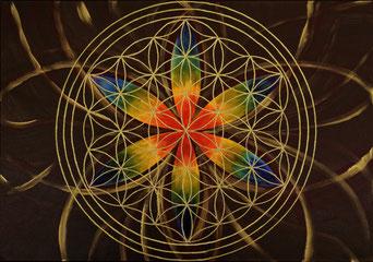 Blume des Lebens gemalt mit  Acryl auf Leinwand in Natur und Regenbogenfarben