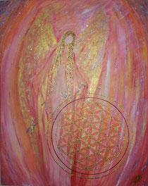 Schutzengel in rosa mit der Blume des Lebens
