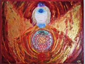 Engel Gemalt auf Leinwand mit der Lebensblume in Chakrenfarben