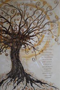Baum des Lebens mit Spruch fÜr die Familie gemalt in Acryl