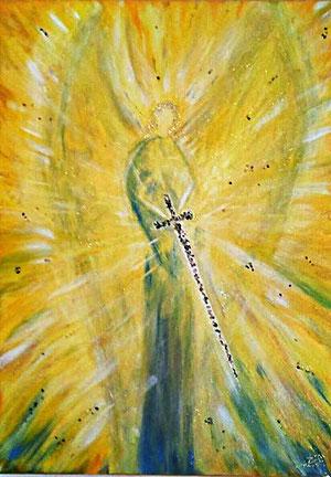 Erzengel Michael Bild Gemalt in Acryl in Gelb