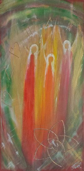 Engel der Selbstliebe in Acryl auf Leinwand mit der Venusblume