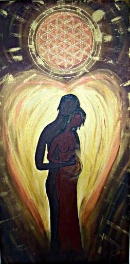 Wunder der Liebe Acryl auf Leinwand gemalt für eine Hebammenpraxis