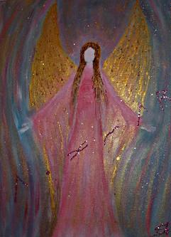 Schutzengelbild gemalt zur Kommunion für ein kleines Mädchen in rosa und blau
