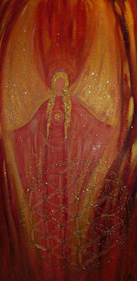 Engel des roten Strahls gemalt in Acryl auf Leinwand
