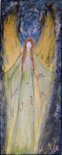 Schutzengelbild Acryl auf Leinwand mit dem Namen in Chephrenschrift