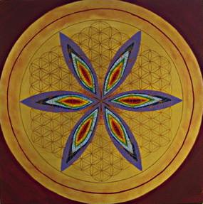 Lebensblume gemalt  Acryl auf Leinwand in den Chakrenfarben und Gold