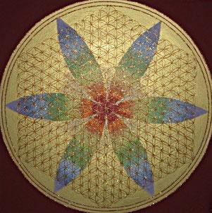 Blume des Lebens gemalt mit Acryl auf Leinwand  in bunten Farben