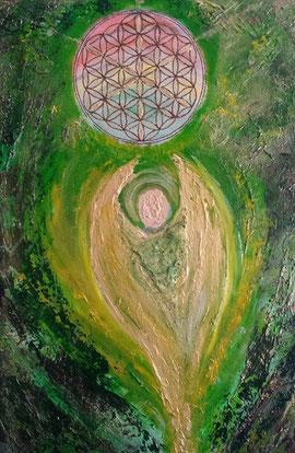 Besonderes Engelbild in Grün gemalt mit Acryl auf Leinwand 40x50cm