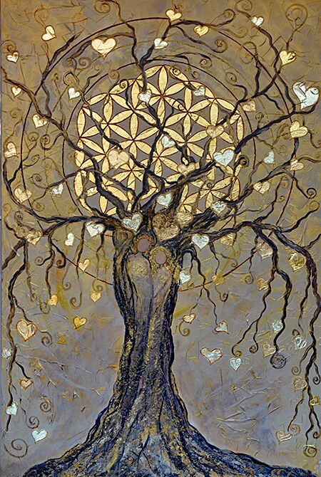 Lebensbaum gemalt mit  Acryl auf Leinwand 100x120cm und mit 3 verschiedenen Blattgoldarten veredelt