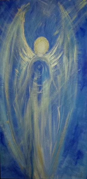 Auftragsarbeit Erzengel Michael gemalt auf Leinwand 100x80cm