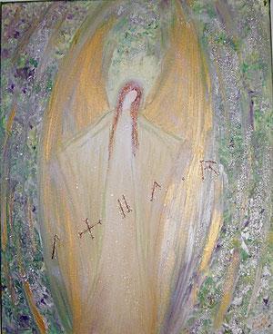 Engelbild Gemalt in Acryl auf Leinwand mit dem Namen in Chephrenschrift