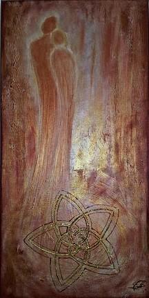 Blume der Liebe gemalt mit Acry auf Leinwand