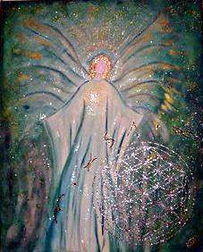 Schutzengel Acryl auf Leinwand in Blautönen und Goldglitzer
