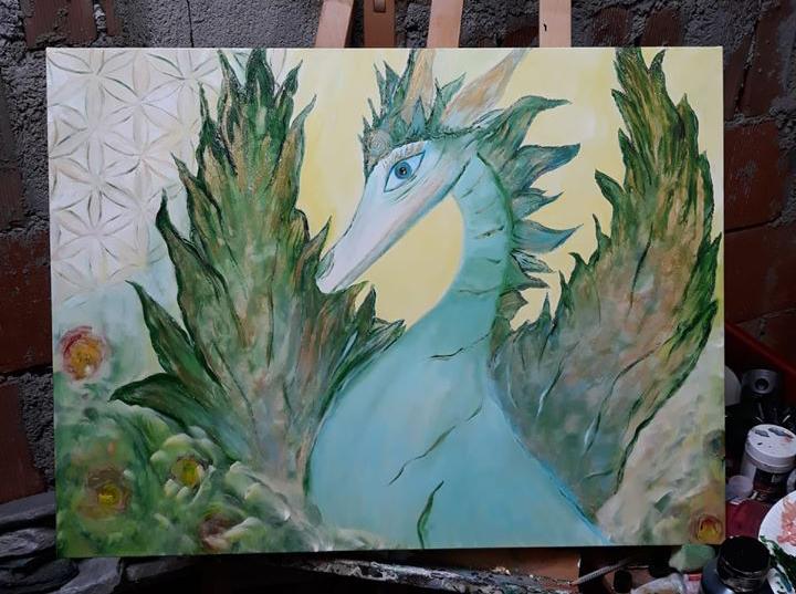 Drachen Bild gemalt als Auftragsarbeit in Acryl auf Leinwand
