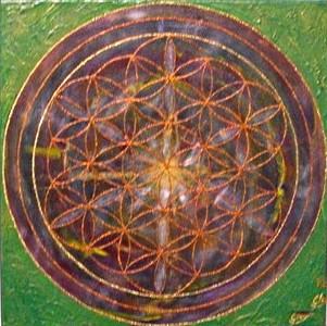Lebensblume gemalt mit Acryl auf Leinwand  Energiebild