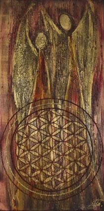 Engelpaar Holzoptik in Acryl auf Leinwand