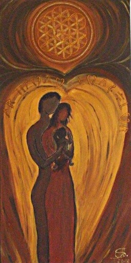 Geborgen in Liebe gemalt in Acryl auf Leinwand