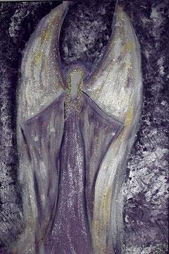 Schutzengelbild gemalt mit Acryl auf Leinwand