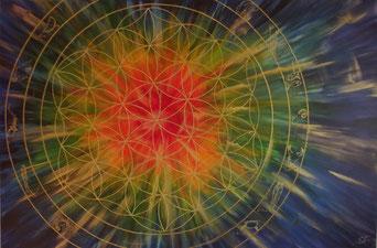 Blume des Lebens Lebensblume gemalt mit Acryl auf Leinwand .Ein besondes Energiebild